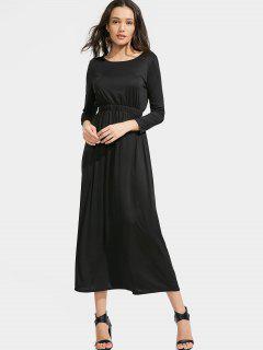 Long Sleeve Elastic Waist Maxi Dress - Black Xl