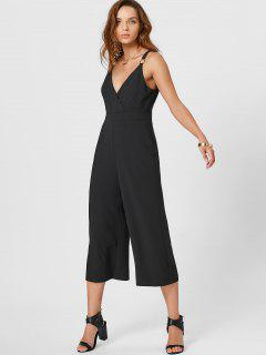 Plunging Neck Metal Ring Surplice Jumpsuit - Black L