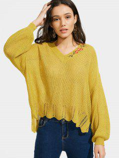 Embroidered V Neck High Low Sweater - Yellow