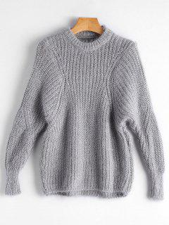 Dolman Sleeve Plain Pullover Sweater - Gray