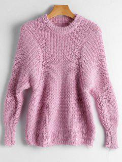 Dolman Sleeve Plain Pullover Sweater - Pink