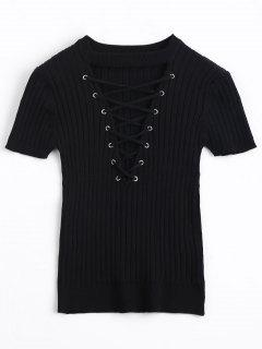 Knitting Criss Cross Ribbed Top - Black S