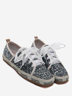 Sequined Square Toe Sneakers - Gray 37