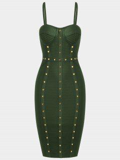 Embellished Cami Bandage Dress - Army Green S