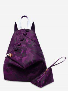 Buttons Camouflage Pattern Backpack - Deep Purple