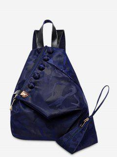 Buttons Camouflage Pattern Backpack - Deep Blue
