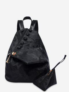 Buttons Camouflage Pattern Backpack - Black