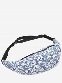 Zipper Animal Print Fanny Pack - White