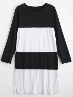 Two Tone Long Sleeve Plus Size Dress - White And Black 2xl
