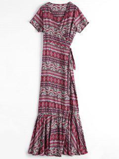 Printed Flounces Wrap Maxi Dress - Rouge