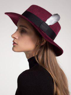 Wool Blended Ribbon Feather Embellished Hat - Wine Red