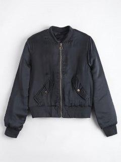 Gathered Sleeve Zip Up Bomber Jacket - Stone Blue Xl