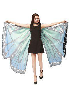 Chiffon Butterfly Strap Shape Wing Cape - Blue Green