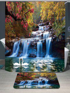 Swans Flowers Cascade Waterproof Shower Curtain Rug Set - W79 Inch * L71 Inch
