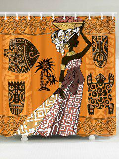 African Tribal Graphic Pattern Waterproof Shower Curtain - W79 Inch * L71 Inch