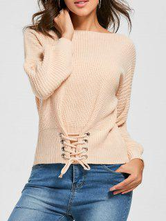 Boat Neck Lace-up Sweater - Orangepink