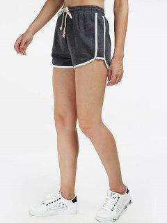 Drawstring Contrast Trim Gym Shorts - Deep Gray M