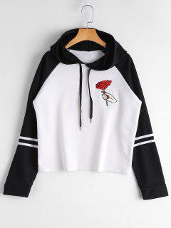 Floral Patched Drawstring Raglan Sleeve Hoodie - White And Black S