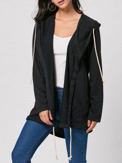 Drawstring Long Hooded Coat - Black M