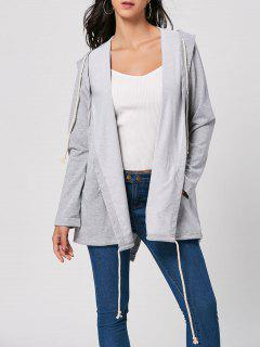 Drawstring Long Hooded Coat - Gray M
