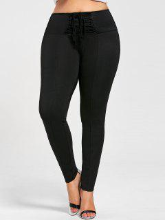 Plus Size Lace Up Pencil Pants - Black 2xl