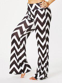 Pantalon En Taille Zigzag Grand Format Palazzo Pants - Noir Bande 5xl