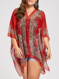Printed Beaded Plus Size Chiffon Poncho Top - Red Orange