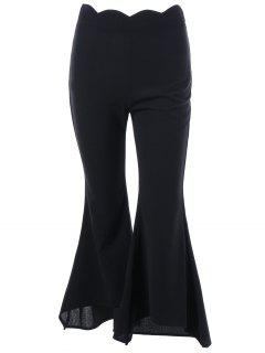Scalloped Edge Flare Pants - Black M