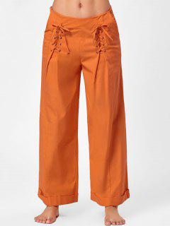 Lace Up Weites Bein Lose Hose - Gelb Orange  L