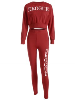 Drogue Print Crop Sweatshirt With Skinny Pants - Red L
