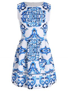 Sleeveless Baroque Print A Line Dress - White Xl