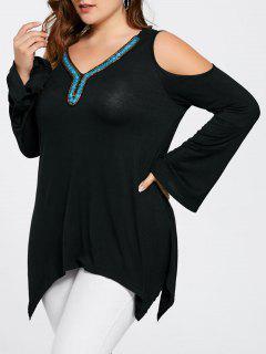 Plus Size Beads Cold Shoulder Asymmetric Top - Black 3xl