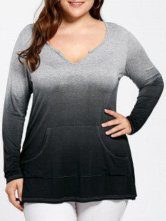 Plus Size Kangaroo Pocket Long Sleeve Ombre T-shirt - Black And Grey Xl