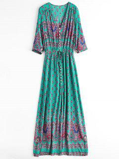 Printed Slit Button Up Maxi Dress - Light Green Xl