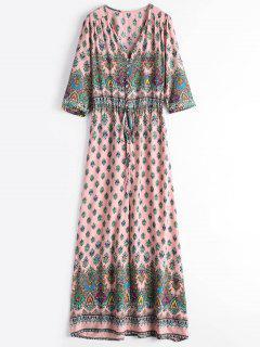 Printed Slit Button Up Maxi Dress - Pink L
