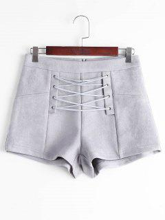 High Waisted Lace Up Shorts - Gray M