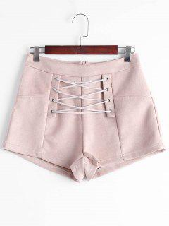 High Waisted Lace Up Shorts - Nude Pink M