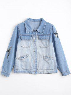 Ombre Bird Embroidered Denim Jacket - Denim Blue L