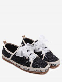 Sequined Square Toe Sneakers - Black 38