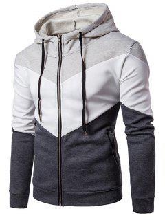 Hooded Color Block Panel Fleece Zip Up Hoodie - Light Gray 2xl