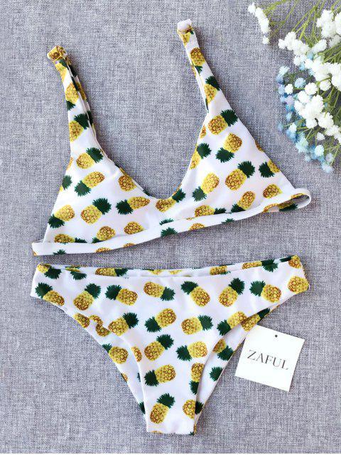 buy Pineapple Print Low Cut Bikini - WHITE L Mobile