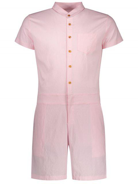 womens Short Sleeve Single Breasted Romper - PINK 2XL Mobile