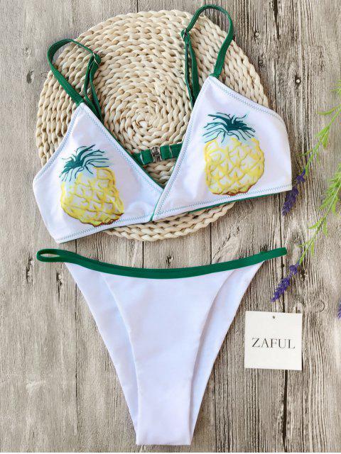 shop Banded Pineapple Thong Bikini - WHITE S Mobile