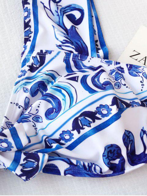 lady Patterned High Waisted Plus Size Bikini - BLUE AND WHITE 2XL Mobile