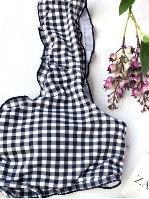 hot Strappy Plaid Plus Size High Waisted Bikini - PLAID 2XL Mobile