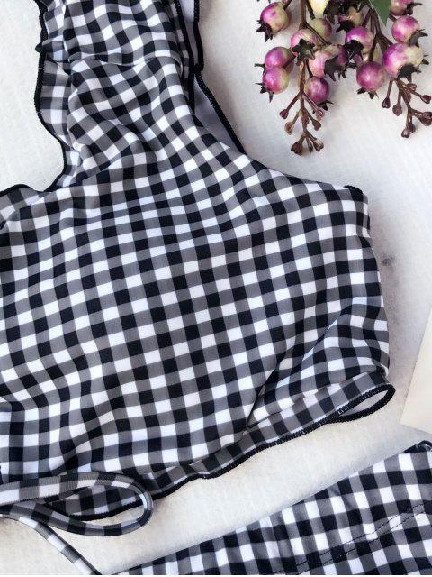 outfit Strappy Plaid Plus Size High Waisted Bikini - PLAID XL Mobile