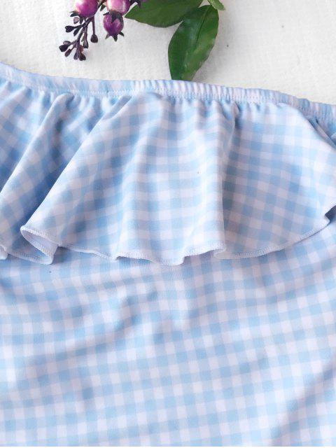 Maillots de bain à volants à épaule - Bleu et Blanc XL Mobile