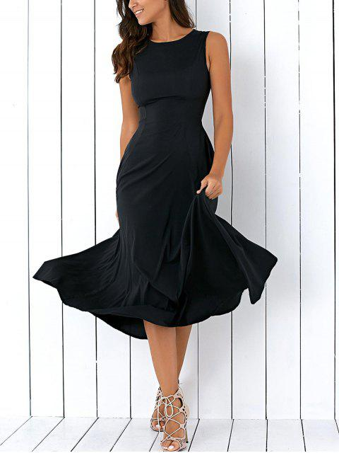 latest Sleeveless Round Neck Loose Fitting Midi Dress - BLACK S Mobile