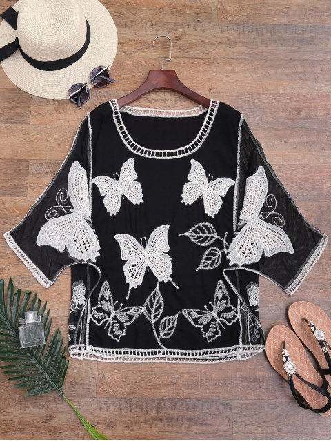 shop Mesh Panel Butterfly Embroidered Batwing Cover-up - BLACK ONE SIZE Mobile