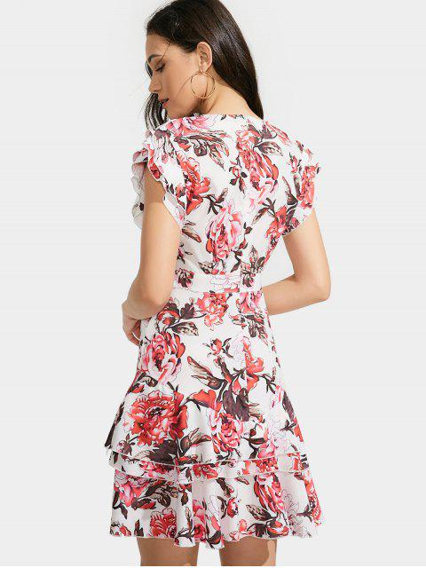 buy Ruffles Layered Floral A-Line Dress - FLORAL M Mobile